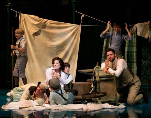 Laura Michelle Kelly (center) and Jeremy Jordan (right) lead the cast of the new musical Finding Neverland at the American Repertory Theater.