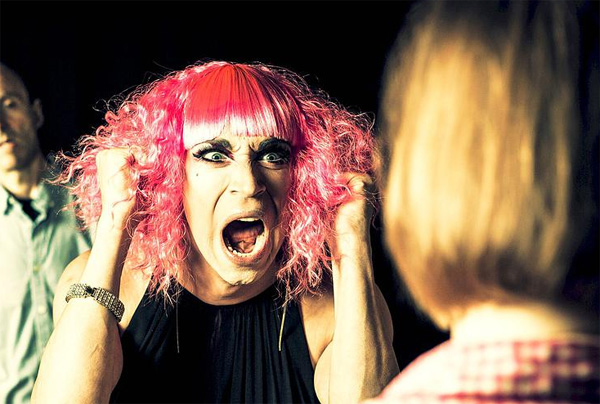 Karl Gregory plays drag queen Helen Back in Colin Drucker's Mother's Day, directed by Reginald L. Douglas, at the Players Theatre as part of the 2014 New York International Fringe Festival.