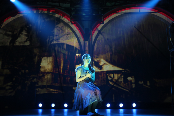 Ruthie Ann Miles as Imelda Marcos in Here Lies Love, directed by Alex Timbers, at The Public Theater.