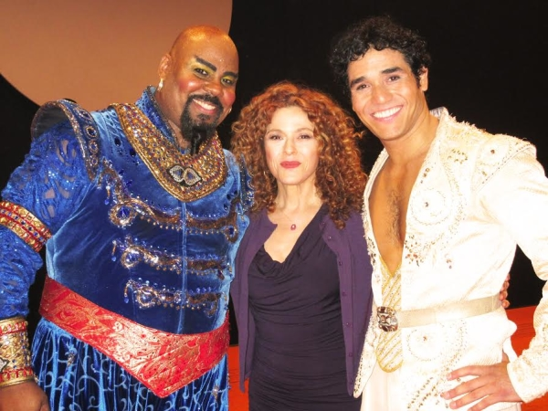 Bernadette Peters poses with James Monroe Iglehart (Genie) and Adam Jacobs (Aladdin).