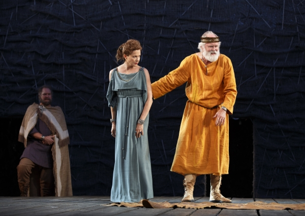 Jay O. Sanders as Earl of Kent, Annette Bening as Goneril, and John Lithgow in the title role of King Lear, directed by Daniel Sullivan, at the Delacorte Theater in Central Park.