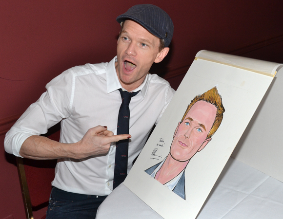 Neil Patrick Harris is really excited to see his Sardi's caricature.