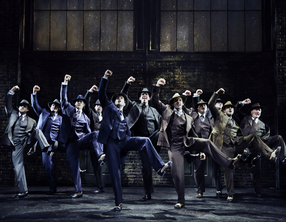 Nick Cordero (center) with the cast of Bullets Over Broadway at the St. James Theater.