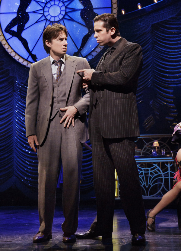 Cordero and Zach Braff share the stage in a scene from Bullets Over Broadway.