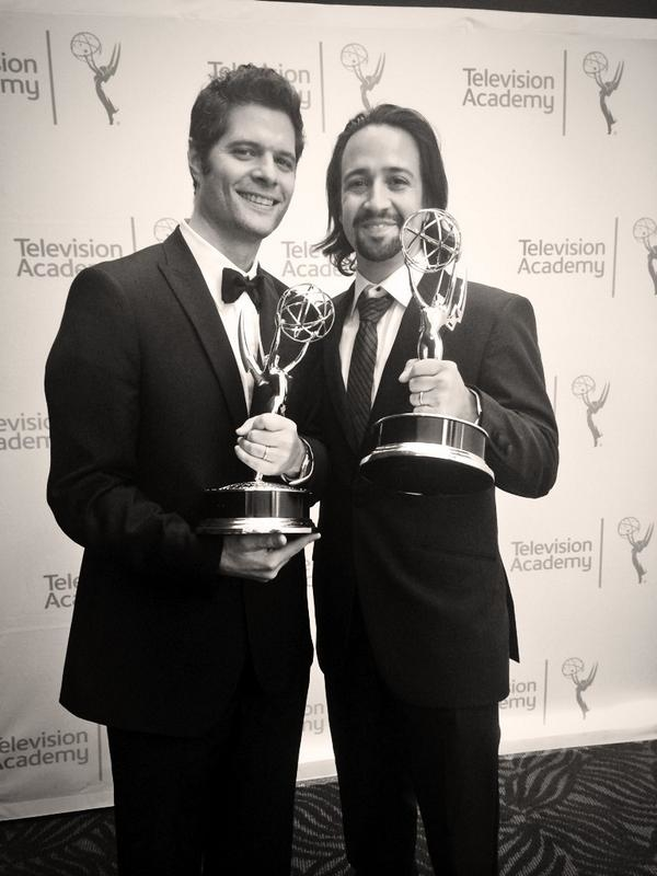 Tom Kitt and Lin-Manuel Miranda with their Emmy Awards for Outstanding Music and Lyrics.