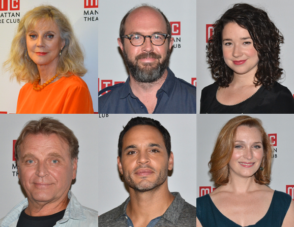The cast of The Country House: (top row) Blythe Danner, Eric Lange, Sarah Steele; (bottom row) David Rashe, Daniel Sunjata, and Kate Jennings Grant.