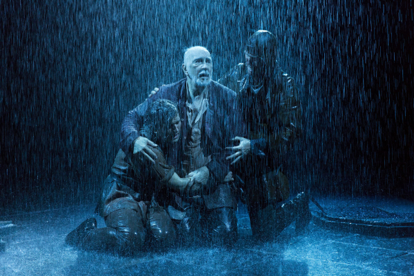 Harry Melling as Fool, Frank Langella as Lear, and Steven Pacey as Kent in the 2014 Brooklyn Academy of Music revival of King Lear, directed by Angus Jackson.