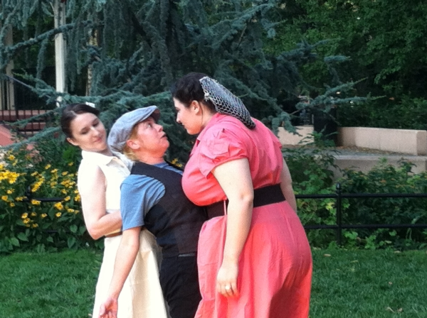 Melissa Meli, Vanessa Wendt, and Michael Rehse in A 1940's Comedy of Errors.