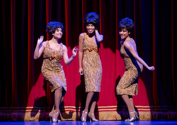 Sydney Morton, Valisia Lekae, and Ariana DeBose in a scene from Motown The Musical.