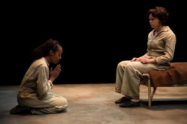 Trae Harris as Young Jamie and Emily Skeggs as Young Dee in Signature Theatre Company's production of Naomi Wallace's And I and Silence, directed by Caitlin McLeod, at the Pershing Square Signature Center.