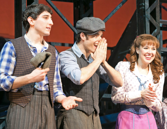 Ben Fankhauser, Corey Cott, and Liana Hunt take their final bow in Newsies.