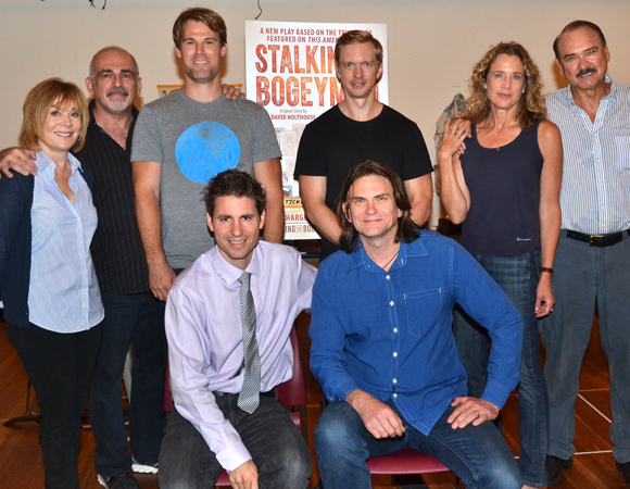 The cast of Stalking the Bogeyman (standing, clockwise): Roxanne Hart, John Herrera, Erik Heger, Roderick Hill, Kate Levy, and Murphy Guyer, with director Marcus Potter and David Holthouse, whose story inspired the new play.