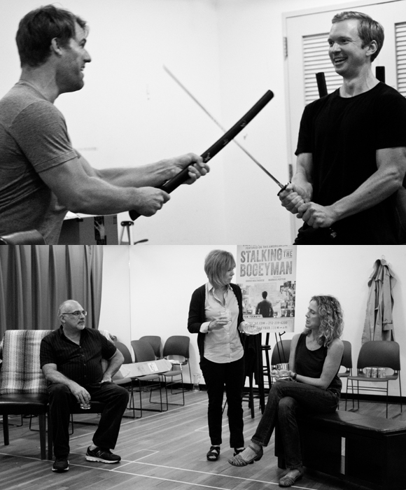 Scenes from Stalking the Bogeyman in rehearsal.