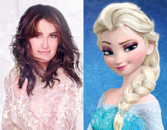 Cover art for Idina Menzel's upcoming album Holiday Wishes and her character Elsa from Disney's Frozen