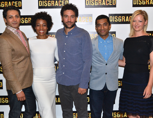 Hari Dhillon, Karen Pittman, Josh Radnor, Danny Ashok, and Gretchen Mol star in Disgraced on Broadway.