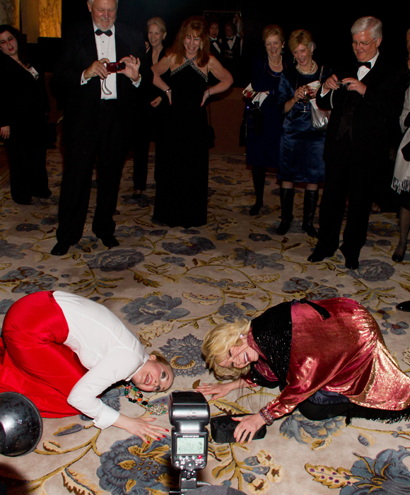 Katie Finneran bows down to Joan Rivers as Joan Rivers bows down to Katie Finneran at the opening night of Promises, Promises in 2010.