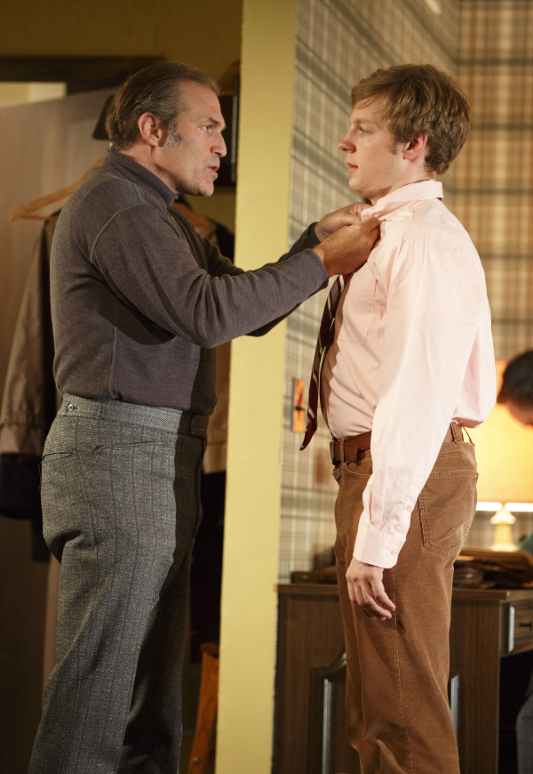 Marc Kudisch as Vince and Will Pullen as Mark in Signature Theatre's The Wayside Motor Inn.