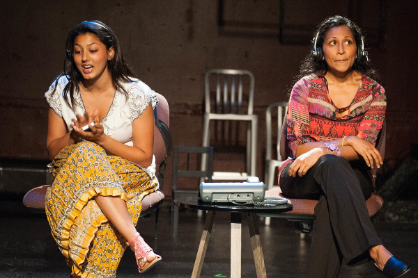 Lipica Shah as Gita and Indika Senanayake as Nakti in I Like to Be Here: Jackson Heights Revisited, or, This Is a Mango, directed by Ari Laura Kreith, at the New Ohio Theatre.