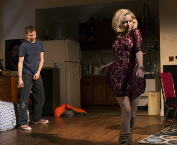 Michael Cera as Warren and Tavi Gevinson as Jessica in Kenneth Lonergan's This Is Our Youth, directed by Anna D. Shapiro, at the Cort Theatre.