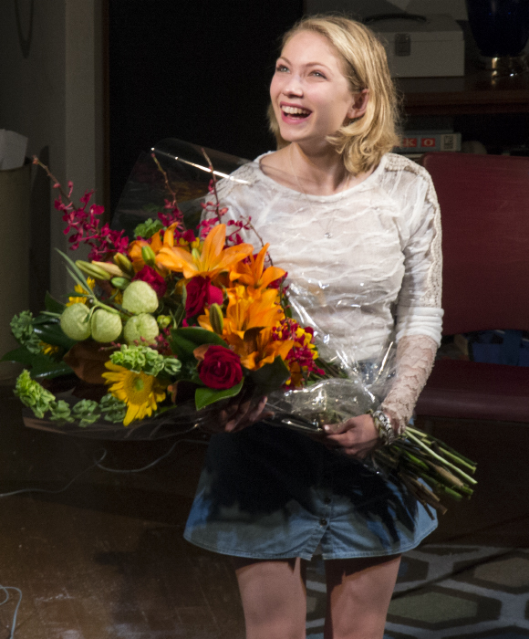 Tavi Gevinson receives a big bouquet of flowers upon taking her opening-night bow in Anna D. Shapiro's revival of Kenneth Lonergan's This is Our Youth at the Cort Theatre.