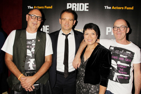 Pride director Matthew Warchus (second from left) with the movie's real-life inspirations, Siân James, and Mike Jackson.
