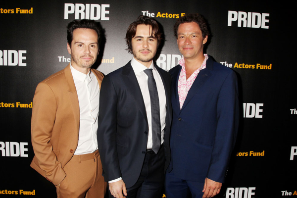 Pride stars Andrew Scott, Ben Schnetzer, and Dominic West at a screening of the new film at the Ziegfeld Theatre.