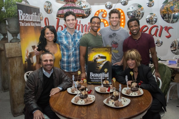 Beautiful songwriters Barry Mann and Cynthia Weil (seated) with cast members (standing clockwise) Ashley Blanchet, Jake Epstein, E. Clayton Cornelious, Joshua Davis, and Alan Wiggins.