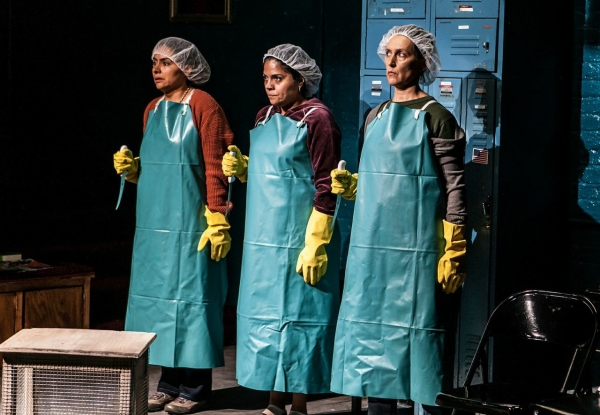 Liza Fernandez, Annie Henk, and Lisa  Ramirez in a scene from Ramirez's To the Bone, directed by Lisa Peterson, at the Cherry Lane Theatre.