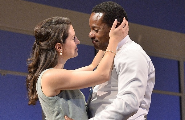 Meredith Forlenza and Malcolm-Jamal Warner in Todd Kreidler's Guess Who's Coming to Dinner, directed by David Esbjornson, at Huntington Theatre Company.