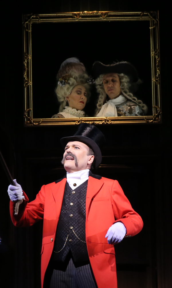 Jefferson Mays in Broadway's Gentleman's Guide to Love and Murder, directed by Ruth Draper fan Darko Tresnjak.