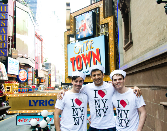 On the Town stars Clyde Alves, Tony Yazbeck, and Jay Armstrong Johnson pose near their marquee at the Lyric Theatre.