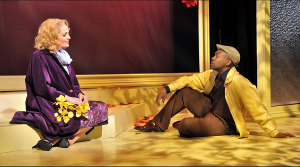 Jennifer Ellis as Cathy and Maurice Emmanuel as Raymond in Far From Heaven, directed by Scott Edmiston at Boston's SpeakEasy Stage Company.