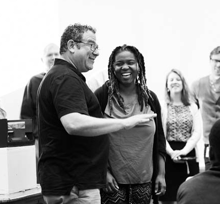 Director Michael Greif with Our Lady of Kibeho playwright Katori Hall.