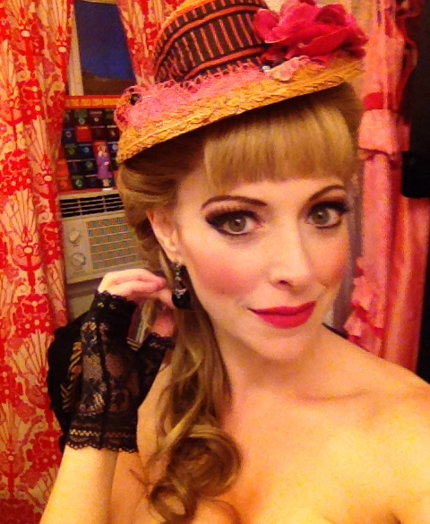 Pamela Bobb dressed to go on as Sibella in Broadway's A Gentleman's Guide to Love and Murder.