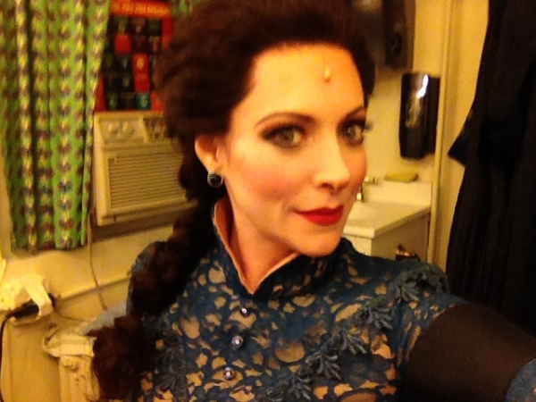 Pamela Bobb dressed to go on as Phoebe D'Ysquith in Broadway's A Gentleman's Guide to Love and Murder.