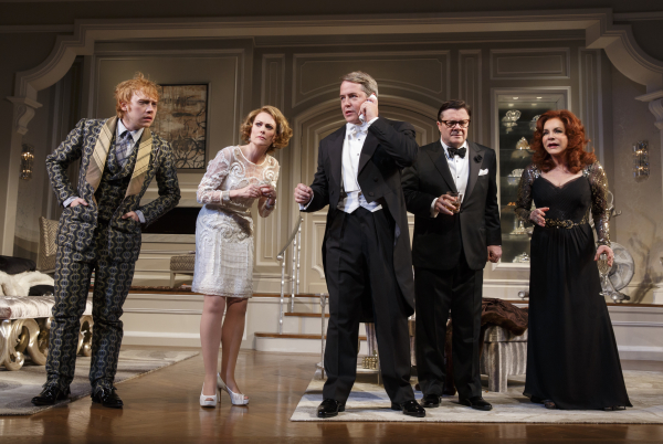 Rupert Grint, Megan Mullally, Matthew Broderick, Nathan Lane, and Stockard Channing star in Terrence McNally's It's Only a Play, directed by Jack O'Brien, at Broadway's Gerald Schoenfeld Theatre.