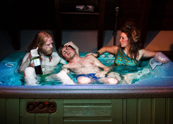 Paul Thureen, Chris Lowell, and Hannah Bos in The Debate Society's Jacuzzi, directed by Oliver Butler, at Ars Nova.