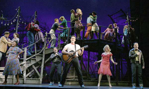 Cheyenne Jackson and the original 2005 Broadway cast of All Shook Up.