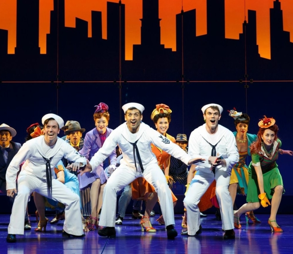 Clyde Alves, Tony Yazbeck, and Jay Armstrong Johnson lead the cast of On the Town at the Lyric Theatre.