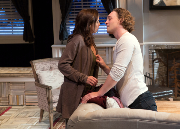 Holly Twyford and Luigi Sottile costar as Olivia and Ethan in Laura Eason's Sex With Strangers, directed by Aaron Posner, at Signature Theatre.