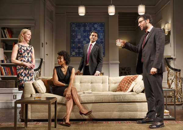 Gretchen Mol, Karen Pittman, Hari Dhillon, and Josh Radnor in Ayad Akhtar's Disgraced, directed by Kimberly Senior, at the Lyceum Theatre.