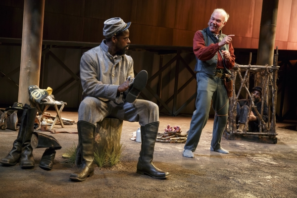 Sterling K. Brown and Ken Marks in Suzan-Lori Parks' Father Comes Home From the Wars Parts 1, 2 & 3, directed by Jo Bonney, at the Public Theater.