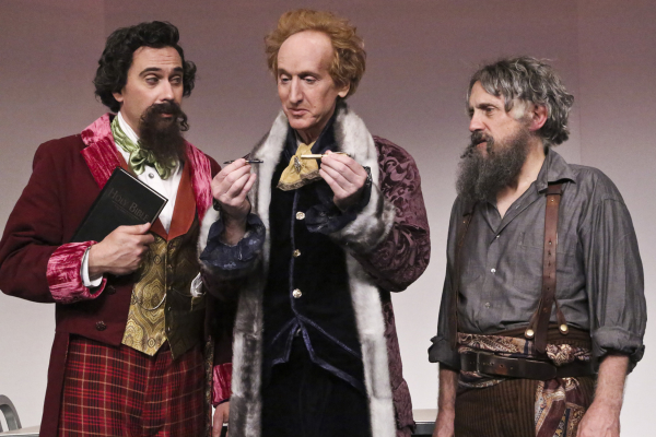 David Melville (Dickens), Larry Cedar (Jefferson), and Armin Shimerman (Tolstoy) in The Gospel According to Thomas Jefferson, Charles Dickens and Count Leo Tolstoy: Discord at the Geffen Playhouse.