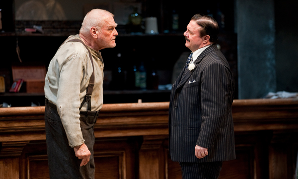"""Brian Dennehy as Larry Slade with Nathan Lane as Theodore """"Hickey"""" Hickman in Eugene O'Neill's The Iceman Cometh directed by Robert Falls at Goodman Theatre."""
