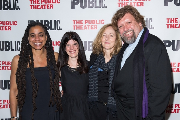 Playwright Suzan-Lori Parks (left) with Public Theater Associate Artistic Director Mandy Hackett, Father Comes Home From the Wars director Jo Bonney, and Artistic Director Oskar Eustis.