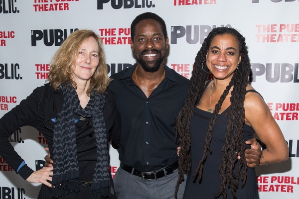 Actor Sterling K. Brown (center) with director Jo Bonney (left) and playwright Suzan-Lori Parks (right).