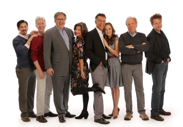 The Band Wagon book writer Douglas Carter Beane (third-from-left) with cast members (from left) Michael Berresse, Tony Sheldon, Tracey Ullman, Brian Stokes Mitchell, Laura Osnes, Michael McKean, and Don Stephenson.