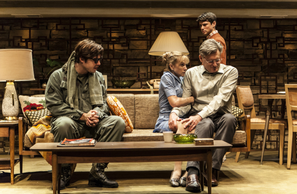 Ben Schnetzer, Holly Hunter, Bill Pullman, and Raviv Ullman star in the New Group's revival of David Rabe's Sticks and Bones, directed by Scott Elliott, at the Pershing Square Signature Center.