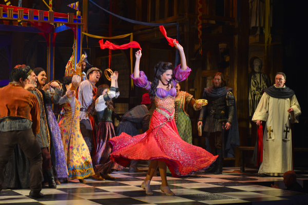 Ciara Renée (center) and the cast of the U.S. premiere production of The Hunchback of Notre Dame, directed by Scott Schwartz, at La Jolla Playhouse.