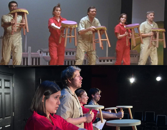 Top: Eugene Levy, Catherine O'Hara, Fred Willard, Parker Posey, and Christopher Guest in a scene from Waiting for Guffman Bottom: The moment recreated in Red, White and Blaine by the iO Theater company.